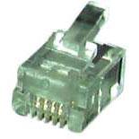 Modular-Stecker RJ11 6(4), für Flachkabel, ungeschirmt - 100 Stück