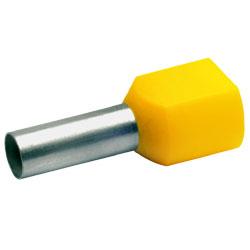 Zwillingsaderendhülsen isoliert, 2 x  6,0mm² / 14mm, gelb, 100 Stück