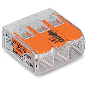 Wago Verbindungsklemme mit Betätigungshebeln 3x 0,14-4,0mm², 50 Stück